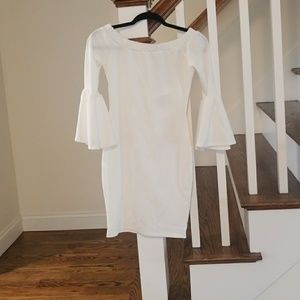 NWT White Off the Shoulder Flute Sleeve Dress